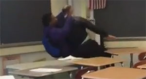 Wannabe Thug Bodyslams 65 Y/O Teacher