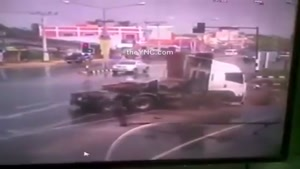 Truck Takes Out 3