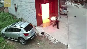 Gas Explosion, Man On Fire